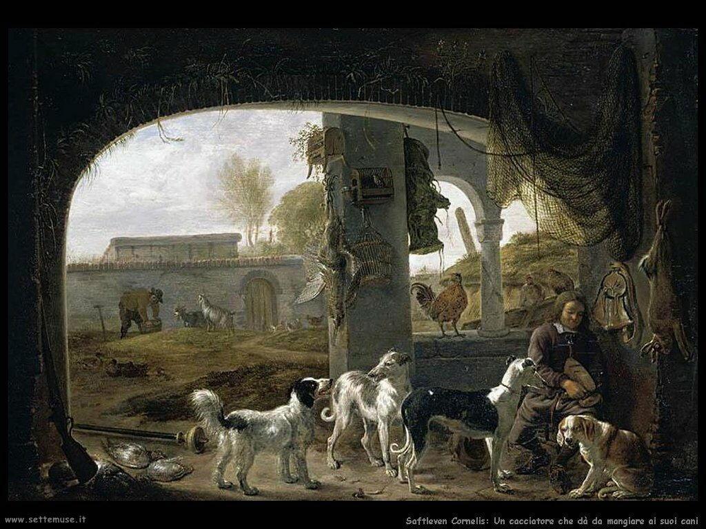 Saftleven Cornelis  Cacciatore nutre i suoi cani