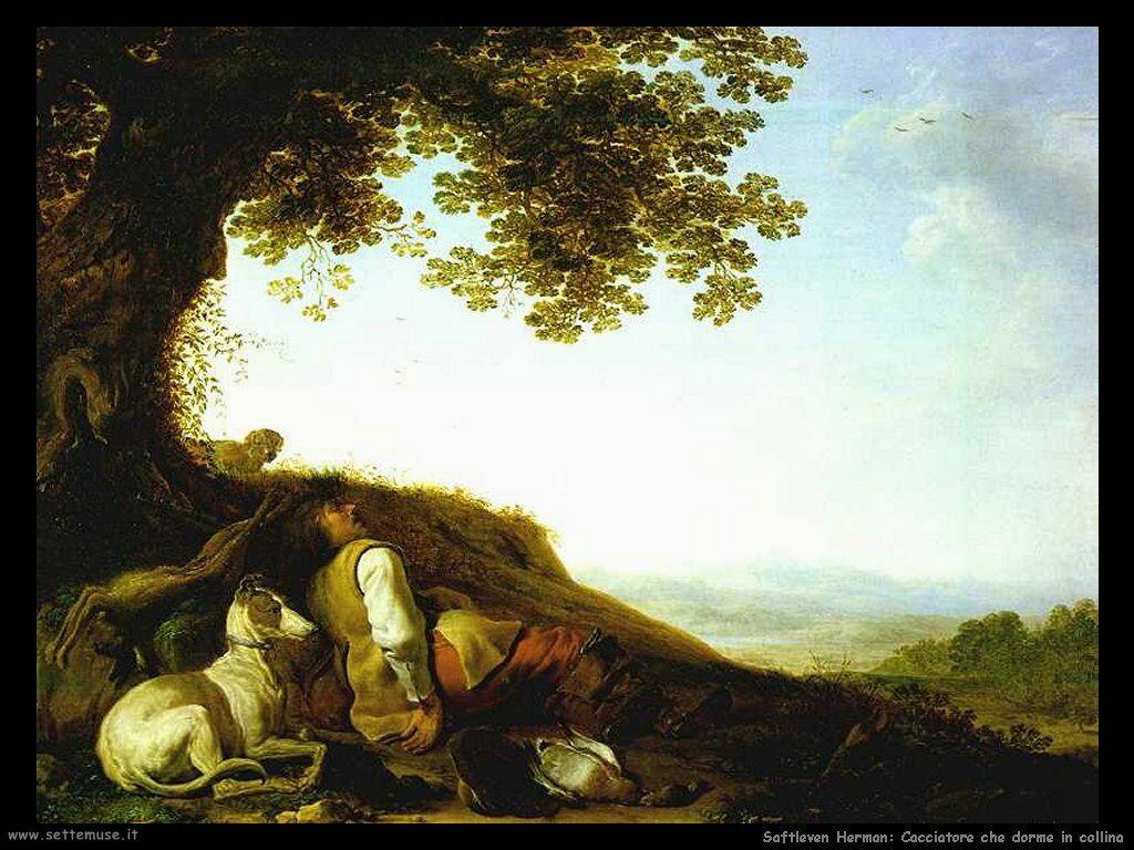 Saftleven Herman Cacciatore addormentato su una collina