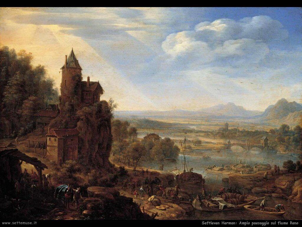 Saftleven Herman Ampio panorama sul fiume Reno