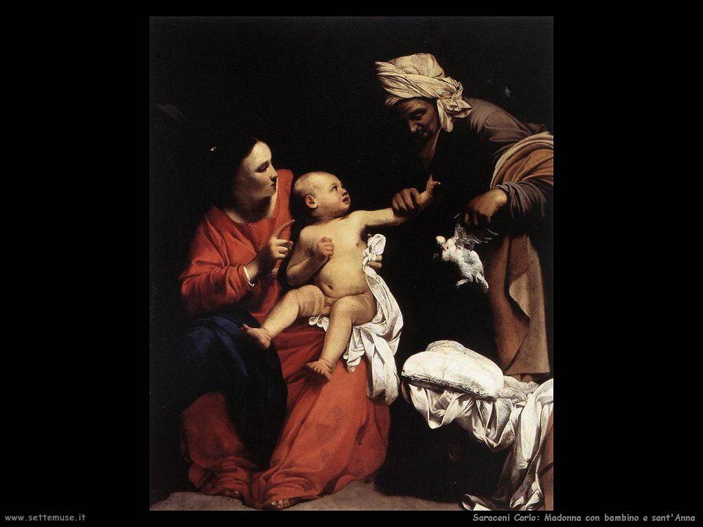 Saraceni Carlo Madonna, Bambino e Sant'Anna