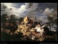 Savery Roelandt Cavalli e buoi attaccati dai lupi