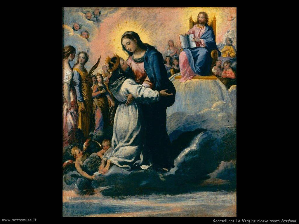 Scarsellino La Vergine riceve Santo Stefano