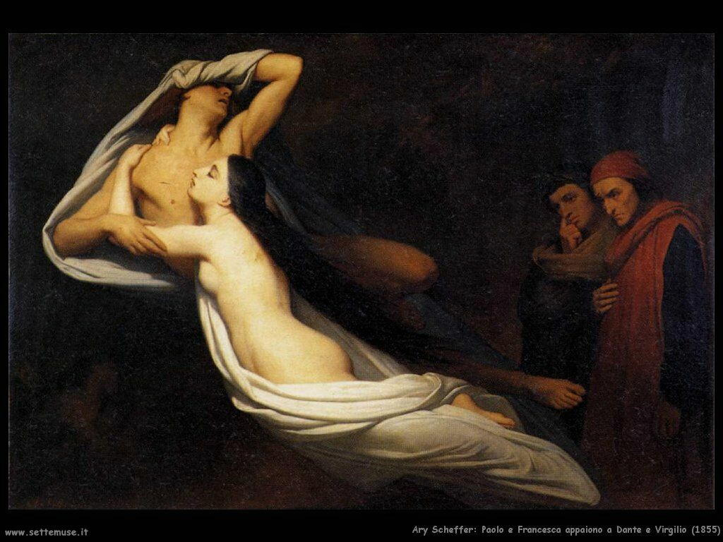 Scheffer Ary Paolo e Francesca appaiono a Dante e Virgilio (1855)