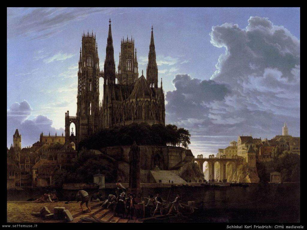 Schinkel Karl Friedrich Città Medievale sull'acqua