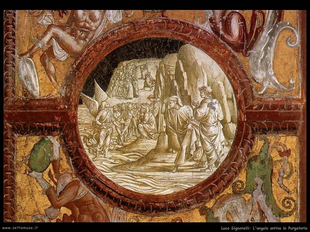 Signorelli Luca- l'angelo arriva in Purgatorio