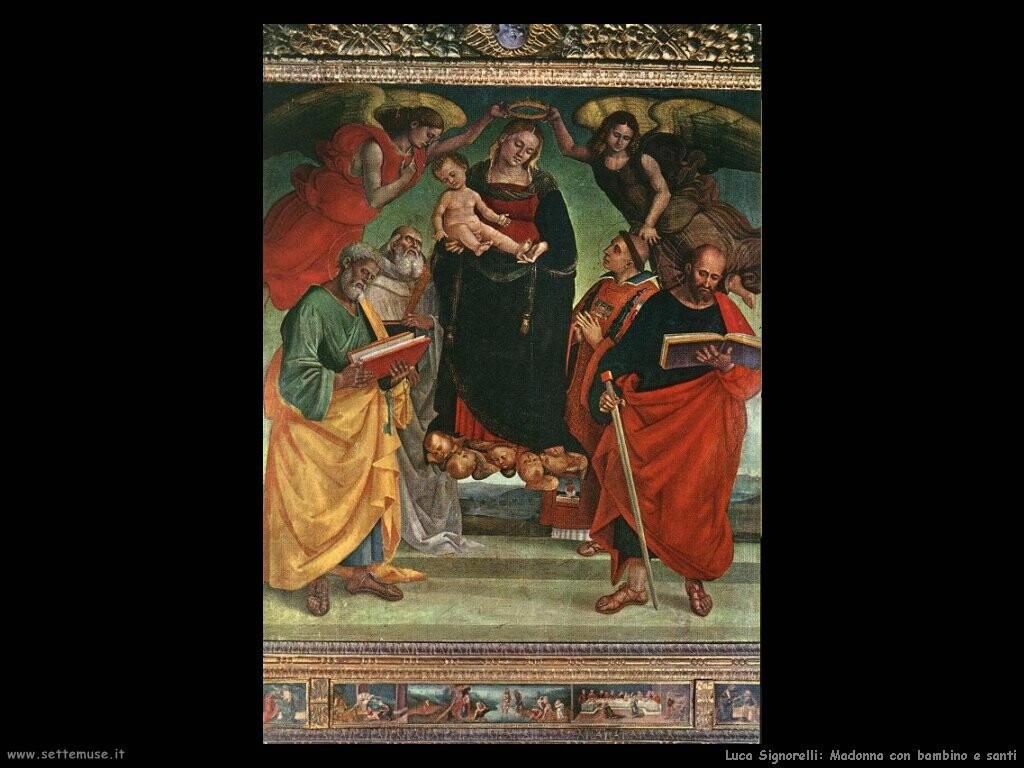 Signorelli Luca Madonna con bambino e santi