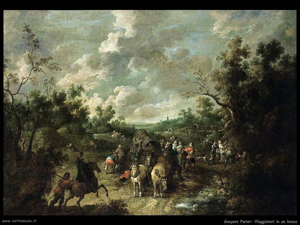 Snayers Pieter Paesaggio boscoso con viaggiatori