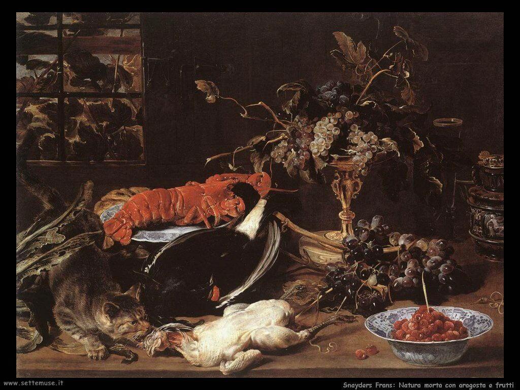Snyders Frans Natura morta con aragosta e frutta