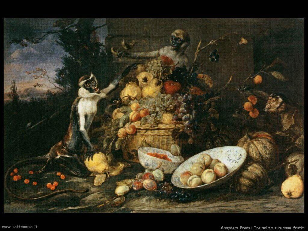 Snyders Frans Tre scimmie rubano la frutta