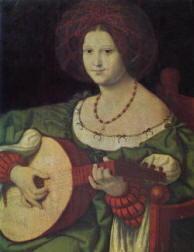 Andrea Solario: Donna con chitarra
