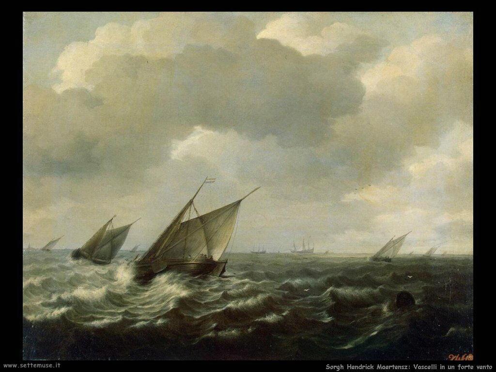 Sorgh Hendrick Maertensz Barche a vela con vento forte