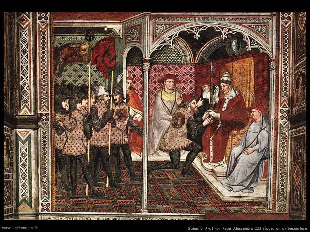 Spinello Arretino Papa Alessandro III riceve un Ambasciatore