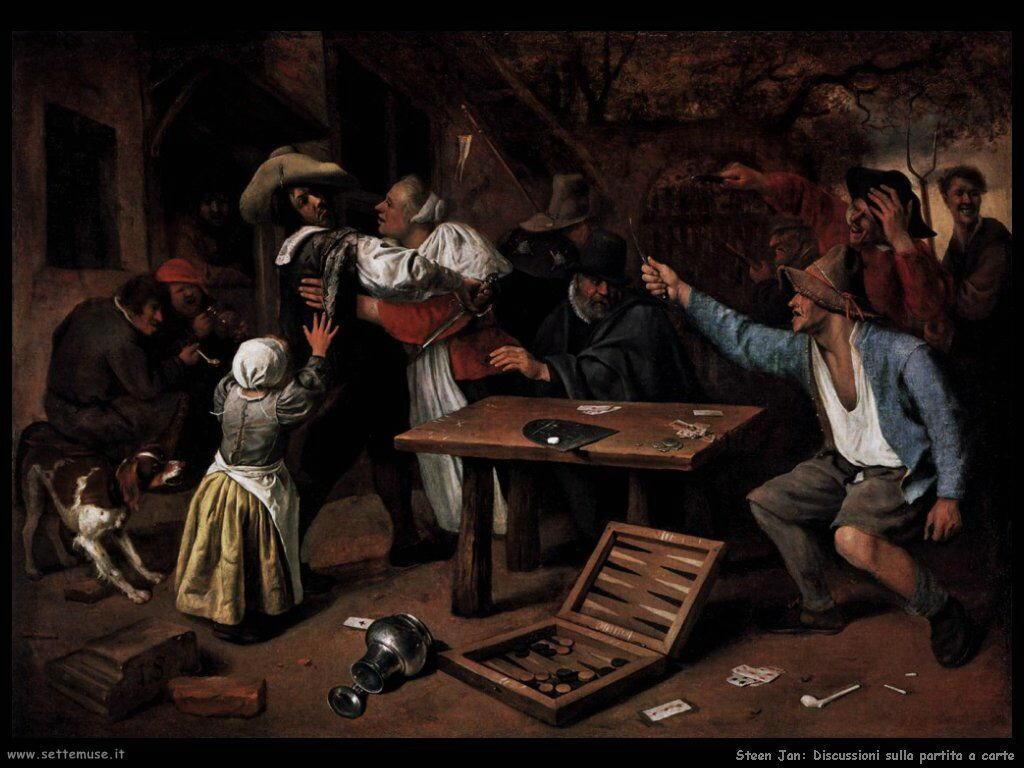Steen Jan Discussione durante una partita a carte