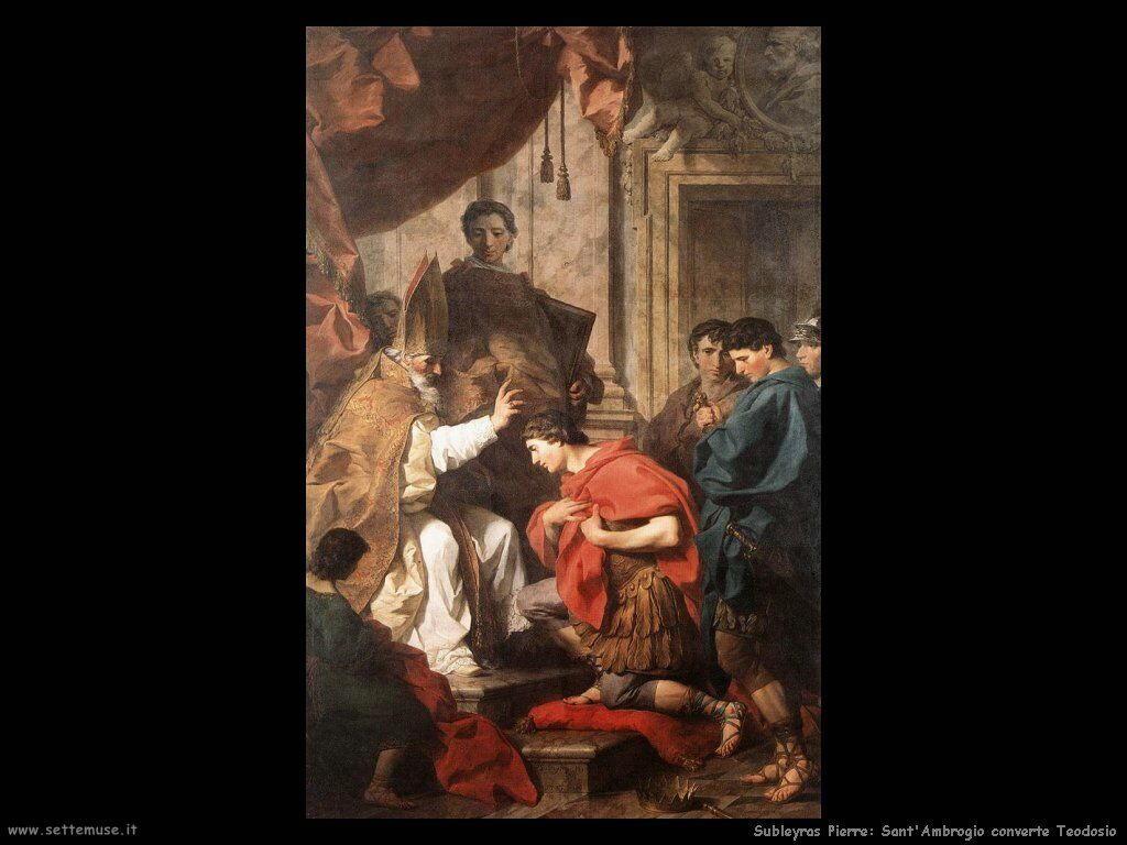 Subleyras Pierre Sant'Ambrogio converte Teodosio