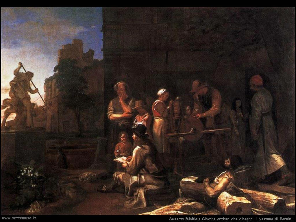 Sweerts Michiel Giovane artista che disegna il Nettuno di Bernini