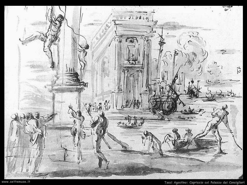 Tassi Agostino Capriccio con vista del Palazzo dei Consiglieri