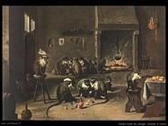 Teniers David Scimmie in cucina