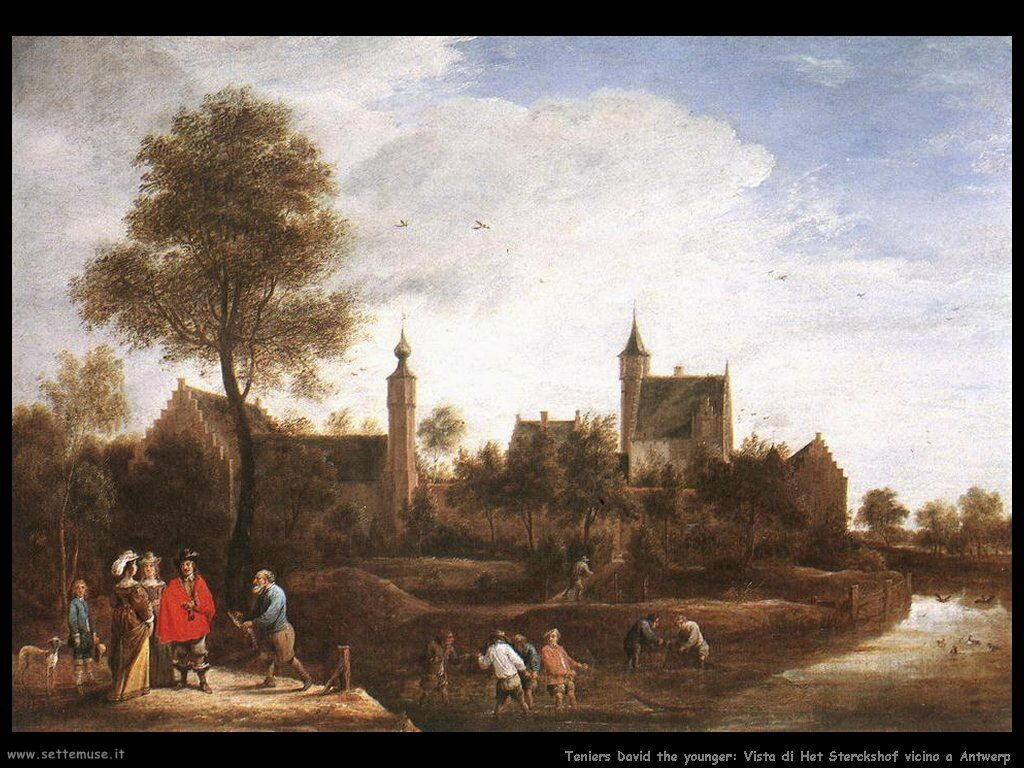 Teniers David the Youngers Vista di Stercksh vicino ad Anversa