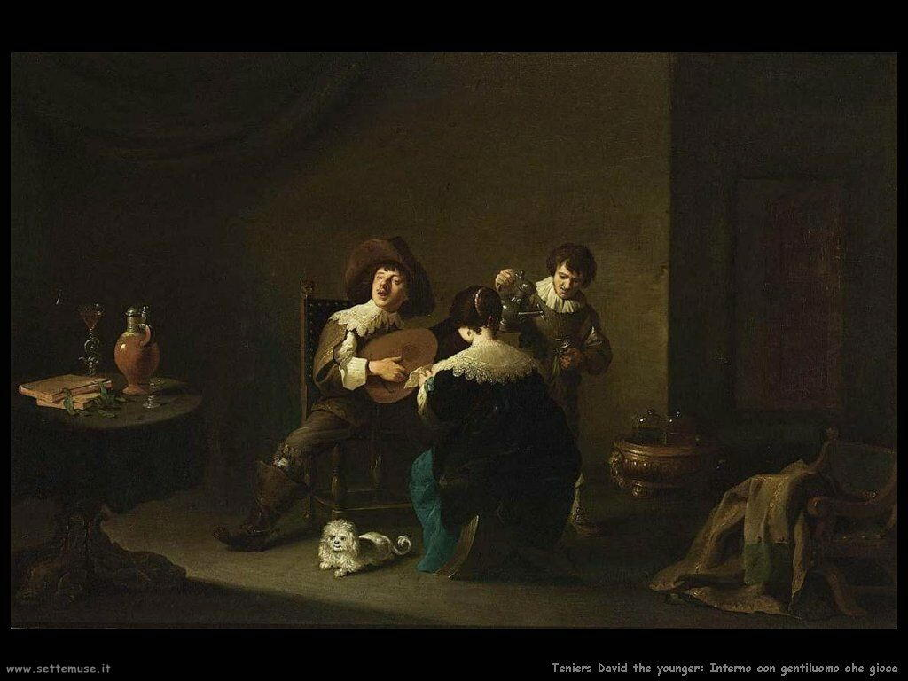 Teniers David the Youngers Interno con un gentiluomo che gioca