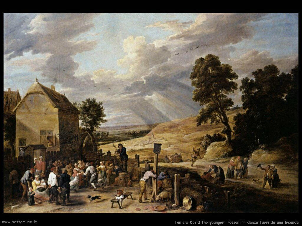 Teniers David the Youngers Contadini che ballano davanti alla Locanda