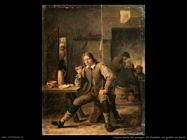 Teniers David the Youngers Fumatori con il gomito appoggiato sul tavolo