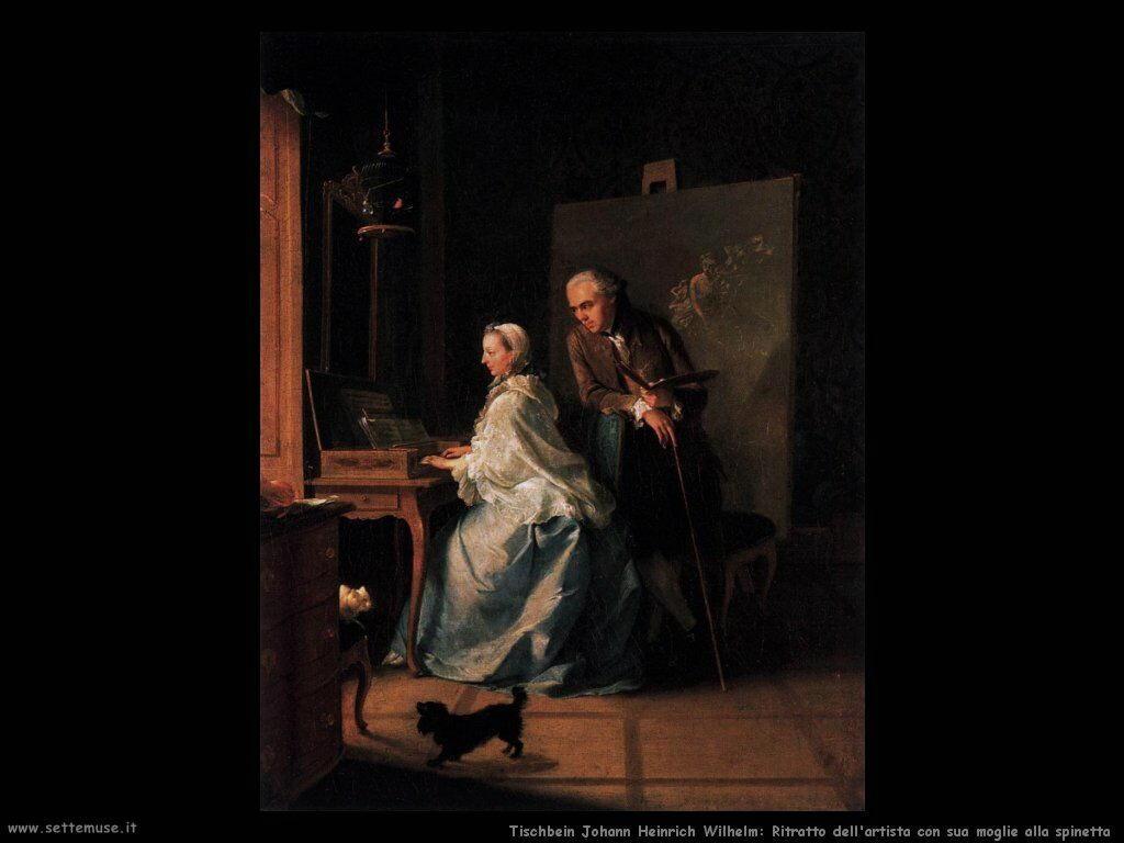 Tischbein Johann Friedrich August Ritratto dell'artista e la moglie alla spinetta