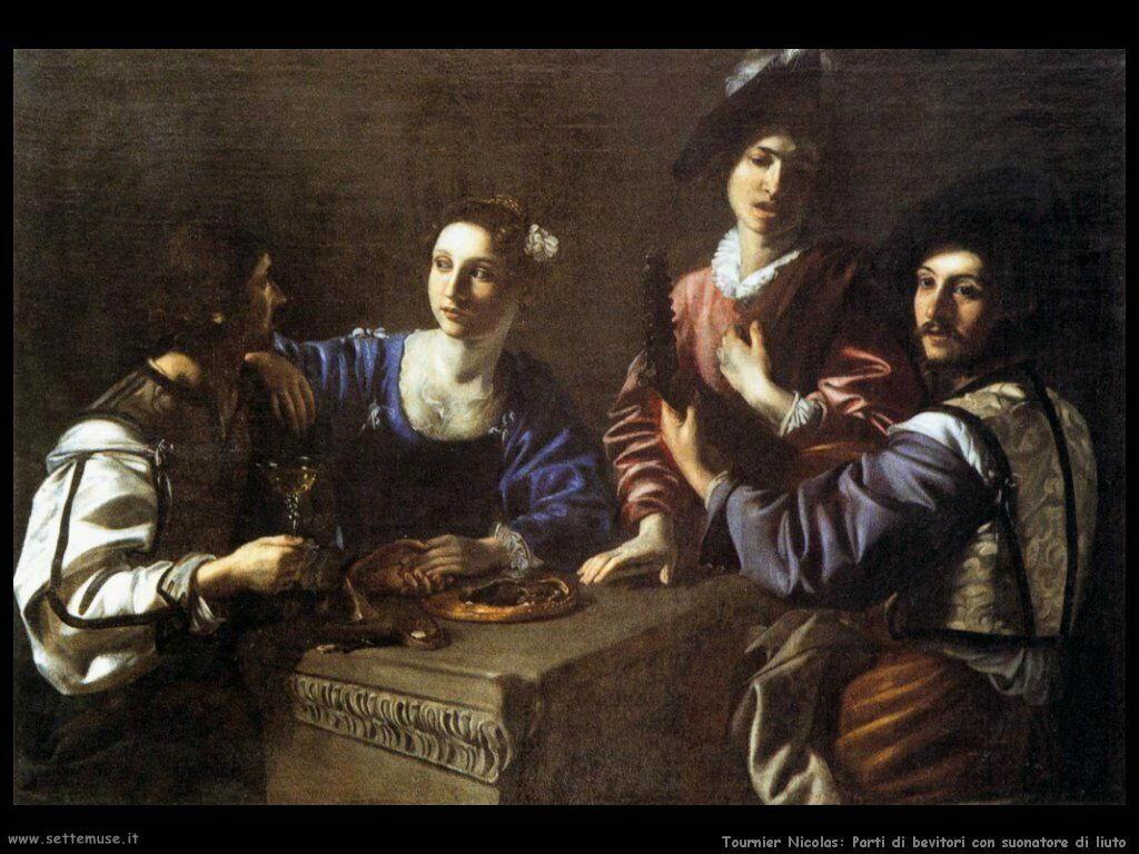 Tournier Nicolas Festa di bevitori con suonatore di liuto