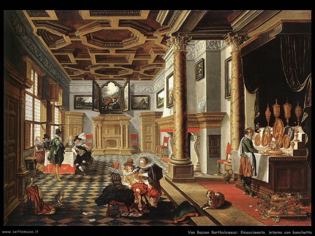 Van Bassen Bartholomeus Interno rinascimentale con commensali