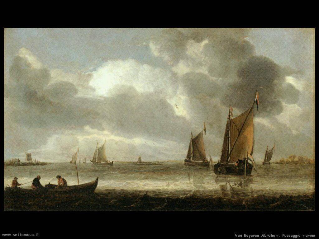 Van Beyeren Abraham Paesaggio marino argentato
