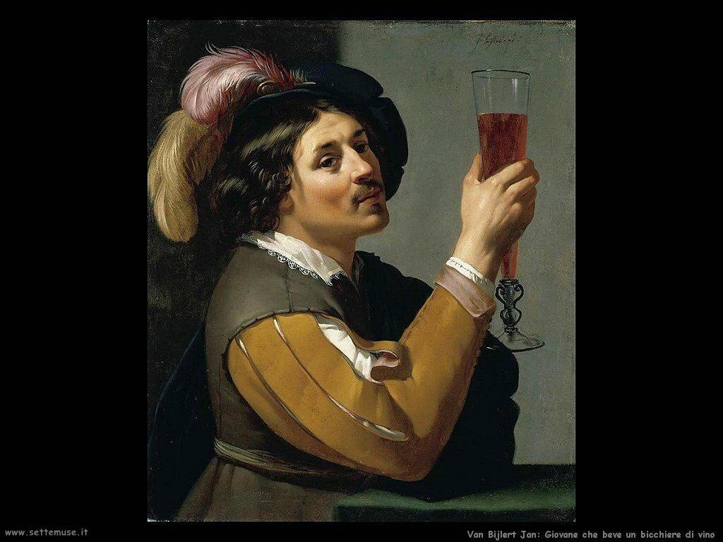 Van Bijlert Jan Giovane che beve un bicchiere di vino