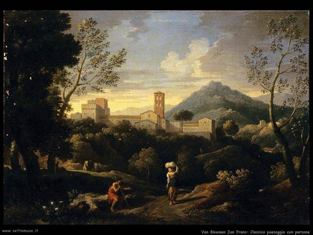 Van Bloemen Jan Frans Paesaggio classico con figure