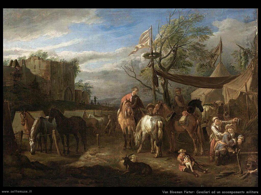 Van Bloemen Pieter Cavalieri a riposo in un accampamento militare