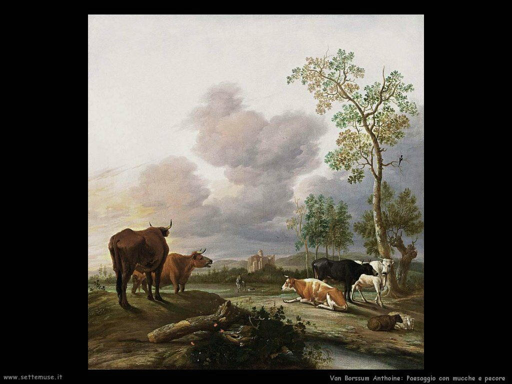 Van Borssum Anthoine Paesaggio con mucche e pecora