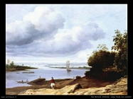 Van Borssum Anthoine Ampia vista sul fiume con cavaliere