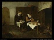 Van Brekelenkam Quiringh Una copia che mangia davanti al fuoco