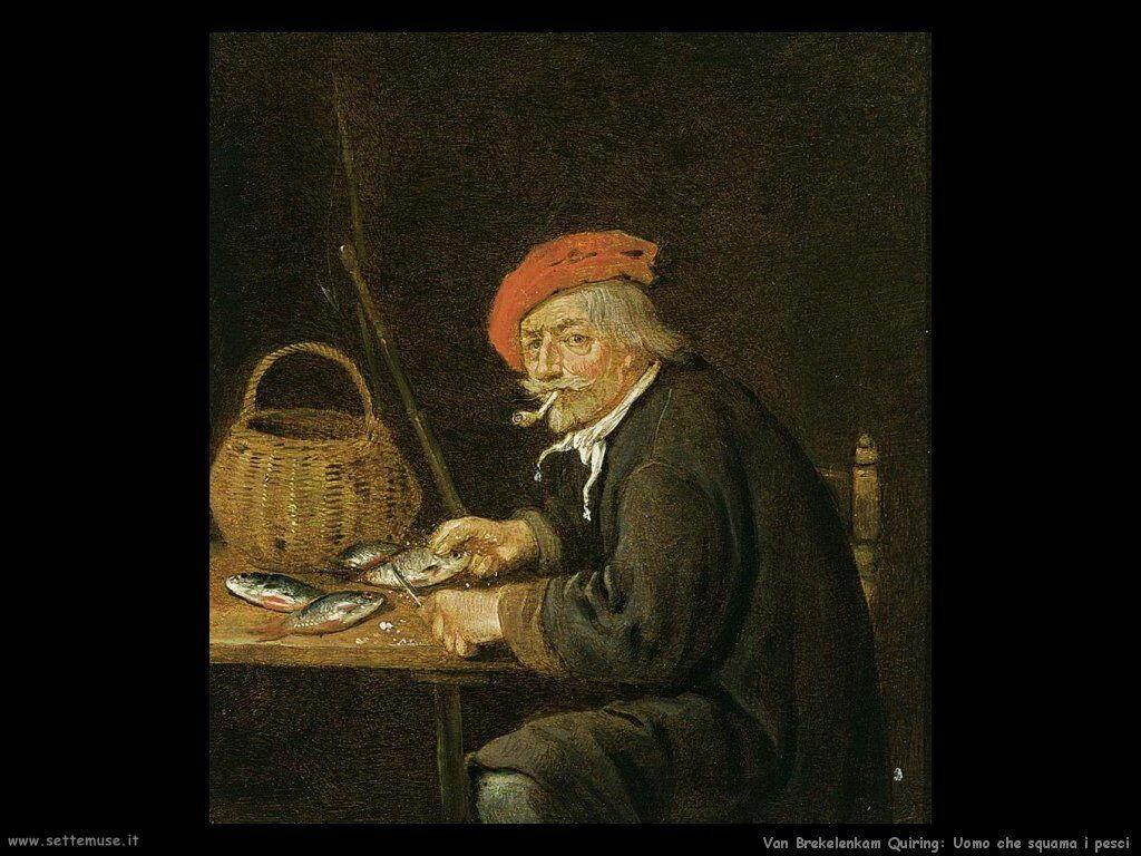 Van Brekelenkam Quiringh Uomo che pulisce il pesce