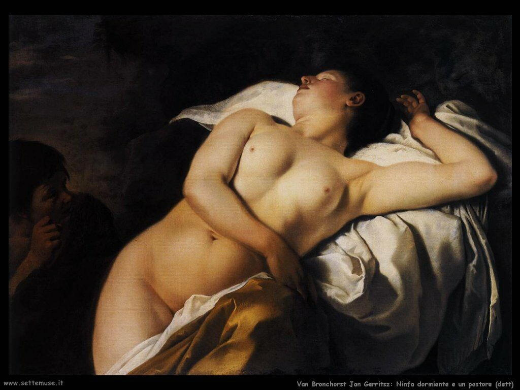 Van Bronchorst Jan Gerritsz Ninfa addormentata con pastore (dettaglio)