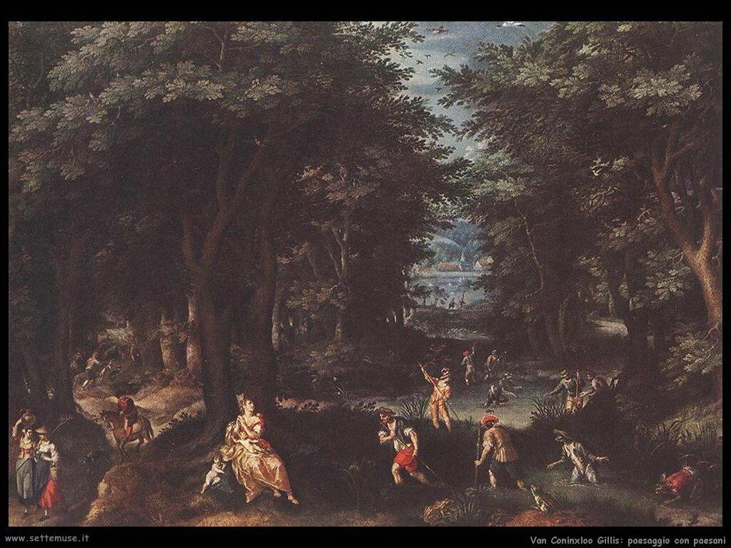 Van Coninxloo Gillis Paesaggio con Leto e contadini