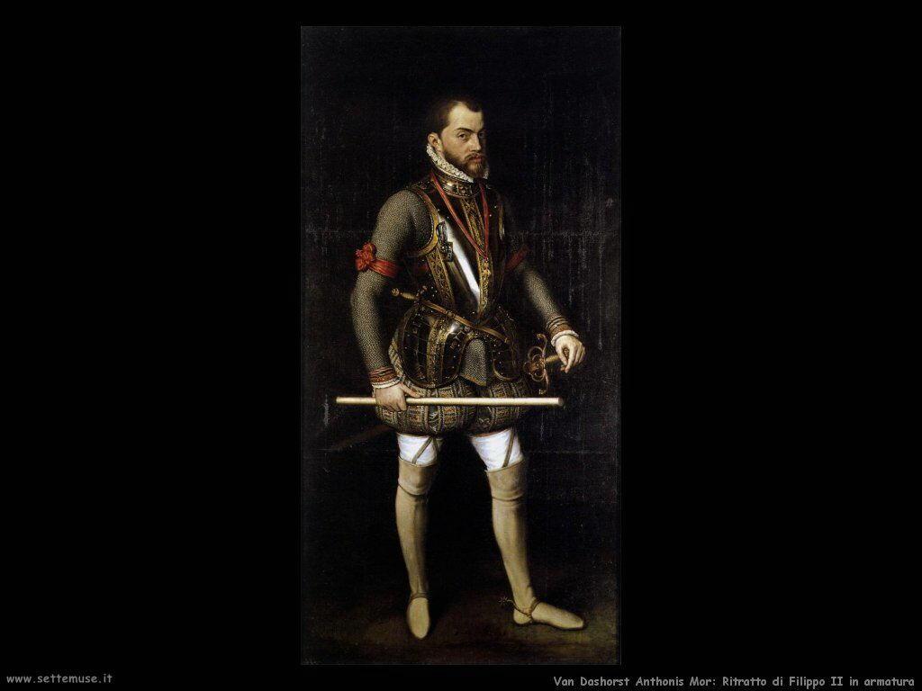 Van Dashorst Anthonis Mor Ritratto di Filippo II con armatura