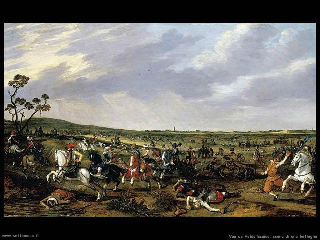 Van De Velde Esaias Scena di battaglia su un paesaggio aperto