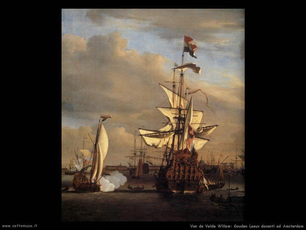 Velde Willem the Younger Il Gouden Leeuw prima di Amsterdam (dettaglio)