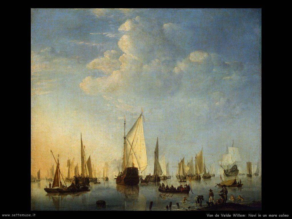 Velde Willem the Younger Navi su un mare calmo
