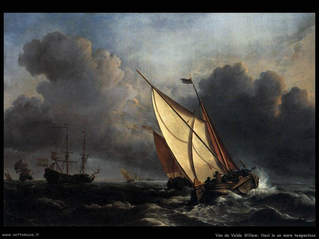 Velde Willem the Younger Navi nel mare in tempesta