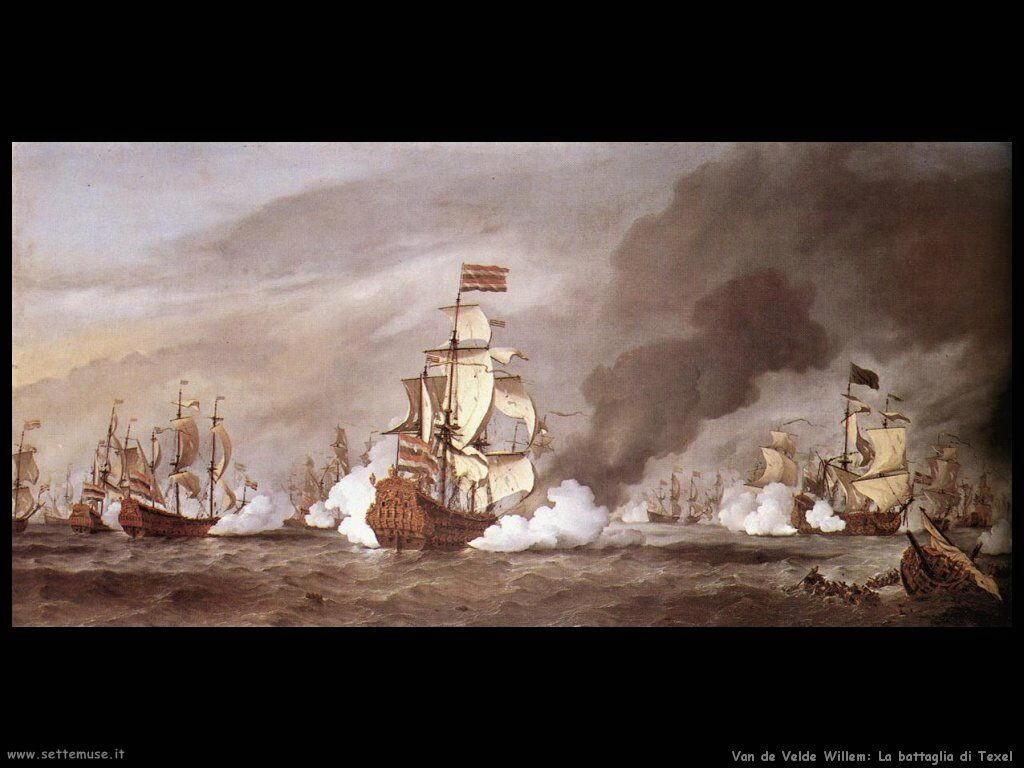 Velde Willem the Younger La battaglia a Texel