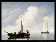 Velde Willem the Younger Barchetti in mare calmo