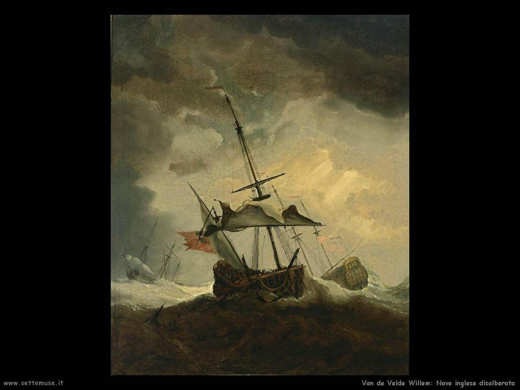 Velde Willem the Younger Piccola nave inglese disalberata