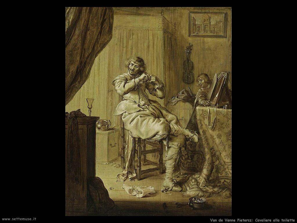 Van De Venne Pietersz Cavaliere al suo tavolo da toeletta
