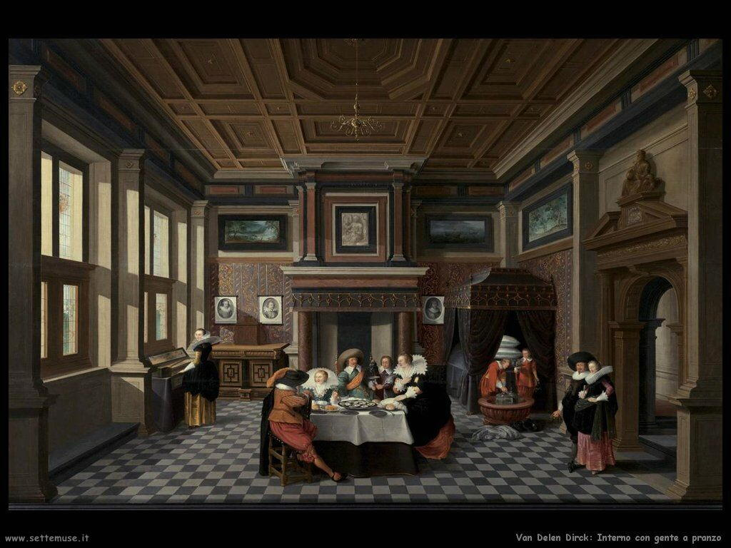 Van Delen Dirck Interno con signora e gentiluomo che pranzano