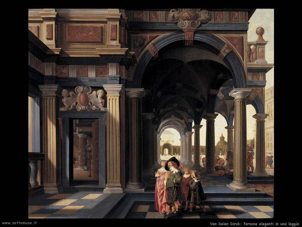 Van Delen Dirck Figure eleganti in una loggia
