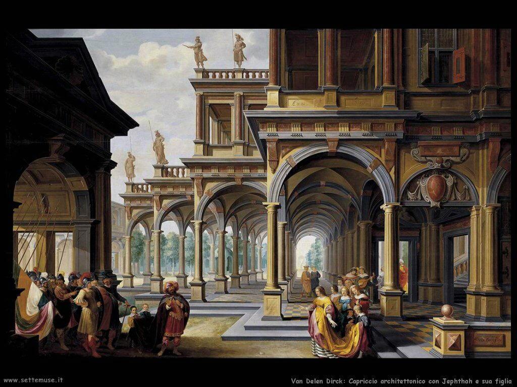 Van Delen Dirck Capriccio con Jephthah e sua figlia